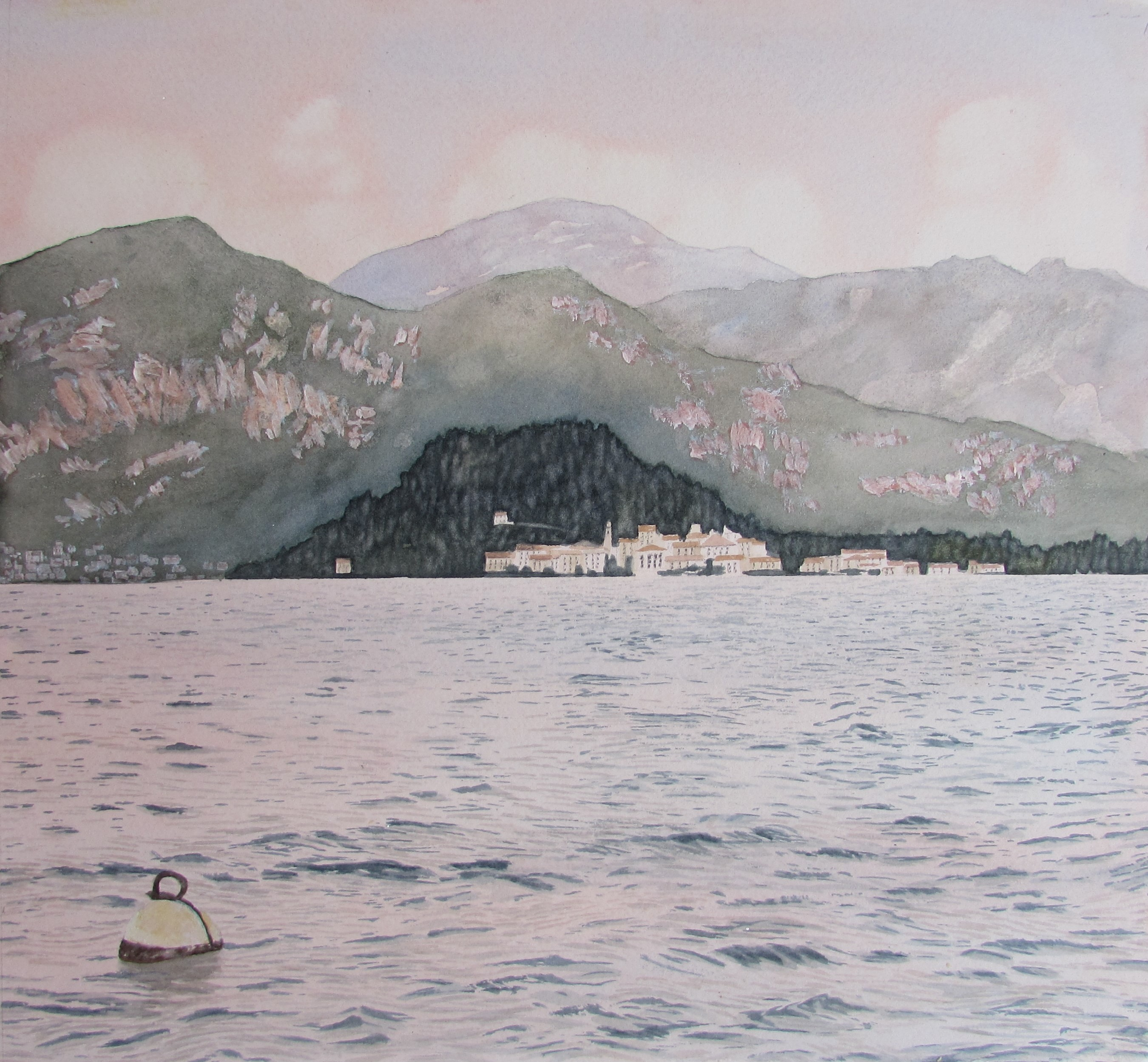 Lake Como 1, View of Bellagio with buoy